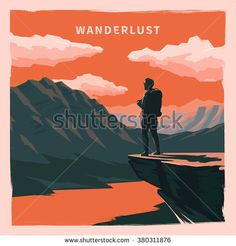 Web vector  illustration on the theme of Climbing, Trekking, Hiking, Walking. Sports, outdoor recreation, adventures in nature, vacation. Wanderlust. Downshifting. Retro flat poster. - stock vector