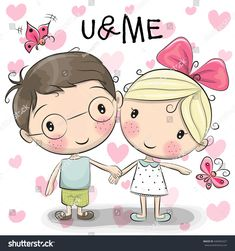 Discover thousands of images about Cute Cartoon Boy And Girl Are Holding Hands On A Heart Background Banco de ilustração vetorial 440404327 : Shutterstock Cartoon Cartoon, Cute Cartoon Boy, Cartoon Drawings, Boy And Girl Cartoon, Holding Hands Drawing, Girls Holding Hands, Cute Images, Cute Pictures, Heart Background