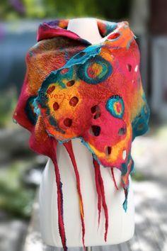 Rainbow Butterfly Shawl nuno felt Pink Teal by BeverlyAshGilbert