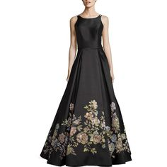 Basix Black Label Floral-Print Gown ($730) ❤ liked on Polyvore featuring dresses, gowns, a line evening dresses, floral dresses, spaghetti strap dress, floral gown and a line gown