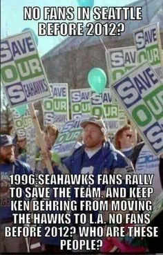 Seahawks have always had their loyal Man fans. The rest of the world just never noticed til now! Seahawks Football, Best Football Team, Seattle Football, Seattle Seahawks, Mariners Baseball, Different Sports, 12th Man, Home Team, Thing 1 Thing 2