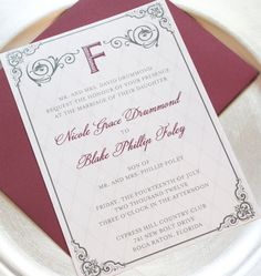 Burgundy Wedding Invitations  Wedding Suite with by WhimsyBDesigns, $4.99