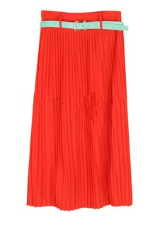 Candy Color Pleated Long Skirt