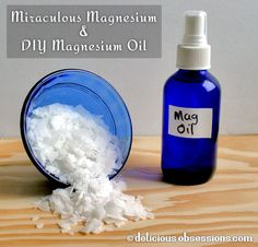 Miraculous DIY Magnesium Oil |  Alleviates -Anxiety Restless Leg Syndrome (RLS) Irritability, Sleep disorders, High blood pressure, Abnormal heart rhythms, Muscle spasms, Seizures, Twitches, Tics, Migraines and Painful PMS.  The ratio of flakes to water is 1:1. ~Mix 1/2 cup magnesium chloride flakes and 1/2 cup of filtered (or distilled) water over low heat until the flakes are dissolved, cool  in glass spray bottle. Spray on torso, 30 mins before bedtime~  www.deliciousobsessions.com