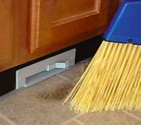 """""""Sweep Away"""" by Galaxie-Vac via Gizmodo (vacuum installs in cabinet, is flush with the floor, and has a kick start suction. Bye bye dust pans!)"""