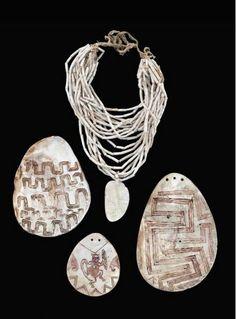 Aboriginal (unknown group, Western Australia), Pendants and Necklace, pigment/shells/plant fiber, c. 1900.