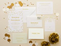 Confetti Wedding Invitation in gold, modern wedding invites