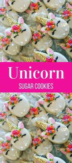 Floral unicorn faces sugar cookies Birthday party favors #affiliate