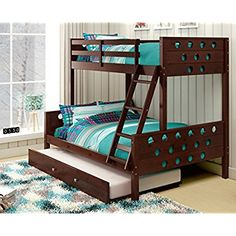 [Bunk Bed With Trundle] Donco Kids Twin Over Full Circles Bunk Pine Dark Cappucino >>> You can get more details by clicking on the image. (This is an affiliate link) #BunkBedWithTrundle