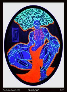 Carlos Roa black light painting. http://www.roastudios.com/