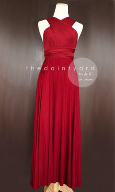 MAXI Wine Red Bridesmaid Convertible Infinity Dress Multiway Wrap Transformer Dress Prom Dress Long Full length Maroon. And only $48