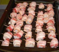Ideas For Birthday Food Appetizers Bacon Wrapped Toothpick Appetizers, Bacon Wrapped Appetizers, Seafood Appetizers, Seafood Dinner, Seafood Recipes, Appetizer Recipes, Hot Appetizers, Fish Recipes, Chicken Recipes