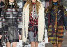 Tommy Hilfiger A/W 2014/15-Workwear and Alpine References – Technicolour Plaids – Tartan and Stripe mixed – Varied Layouts – Diagonal Stripe and Plaid Pattern – Contrasting Pocket Details – Pieced and Patched Combinations
