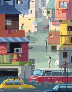 Octavi does his thing again. Love this guy!p.s. here's my artist feature post of him.pixelshuh:  Scene #22: 'The Flood'Pixel Art illustrations by Octavi Navarro