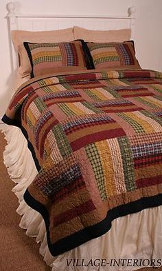 AMERICANA LODGE CABIN TEA DYED SIX BARS KING QUILT + SHAMS SET 100% COTTON