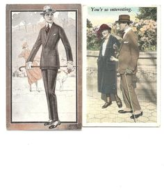 ART DECO Fashion Postcard ~ Two 1920s Vintage Post Cards ~ Mens Suit Spats Hat Gloves Cane ~ Womens 20s Dress Cloche ~ Advertising Post Card