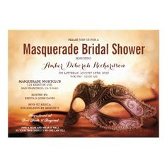 Masquerade Themed Bridal Shower Invitations