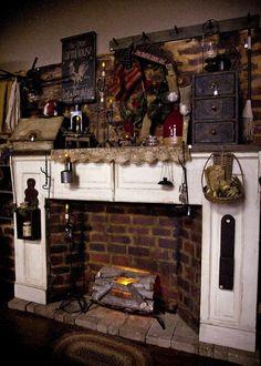 The Olde Homestead: Shop Tour Primitive Mantels, Primitive Home Decorating, Primitive Fireplace, Country Fireplace, Primitive Living Room, Rustic Fireplaces, Primitive Homes, Fireplace Hearth, Primitive Decor