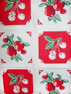 Vintage cherry fabric