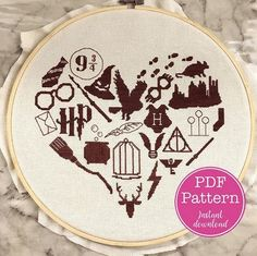 Cross Stitch Design harry potter cross stitch heart - I deliberately saved this pattern to share after Halloween because Harry Potter is an all-year love. The Kim Six Fix made an amazing Harry Potter heart cross stitch pattern that is great for wizard… Cross Stitch Heart, Cross Stitch Alphabet, Counted Cross Stitch Kits, Cross Stitch Font, Cross Stitch Needles, Learn Embroidery, Cross Stitch Embroidery, Embroidery Patterns, Hand Embroidery