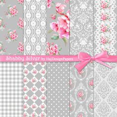 Shabby Silver - Instant Download, Digital Paper, Decoupage Paper, Shabby Chic, Grey, Pink, Floral Paper, Wedding Invitations, Elegant Paper