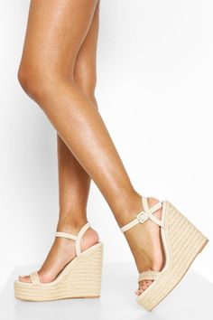 Womens Two Parts Espadrille Wedges - Beige - 9 Jelly Sandals, Wedge Sandals, Summer Feet, Nude Wedges, Different Shades Of Pink, Lace Up Espadrilles, Ankle Strap Wedges, Latest Shoes, Fashion Face Mask