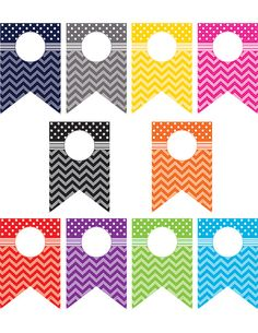 Chevrons and Dots Pennants Accents (30 Accents per pack) $5.49 #TeacherCreatedResources #ChevronClassroom