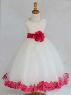 IVORY/ Watermelon  (picture) Beautiful and Puffy Flower girl dress 20 different sash flower colors bridemaid wedding elegant party 302an