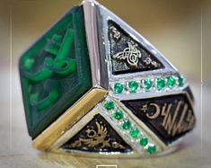 mens ring,rings for men,mens rings,islamic ring,bague homme ottoman,bague homme,osmanische männer ring, silver ring,fathers day ring,green