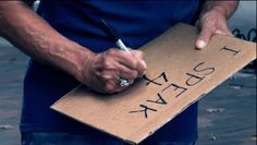 Local homeless people were given a piece of cardboard and a sharpie, and asked to write their story.