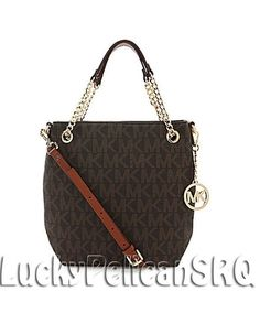 Michael Kors MK Signature PVC Medium Chain Shoulder Tote Bag Handbag Brown NWT #MichaelKors #TotesShoppers