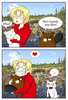 And after this, Matthew adopted the beaver as his own, and named it Biba. No, that's not a Justin Bieber reference, but a nod to this fancomic by ctcsherry.deviantart.com - http://ctcsherry.deviantart.com/art/History-of-Canada-2-160778099 - where he had a pet beaver with that name as a child.