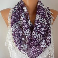 Purple Lace  Scarf     Cowl with Lace Edge by fatwoman on Etsy, $21.00