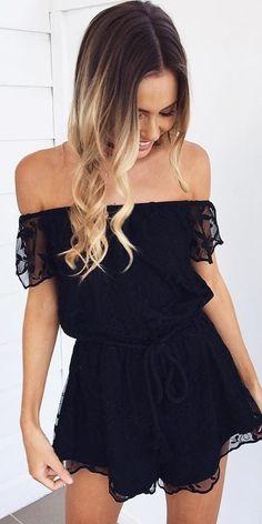#winter #fashion / Black Off Shoulder Dress