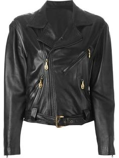 vintage versace leather jacket - Google Search