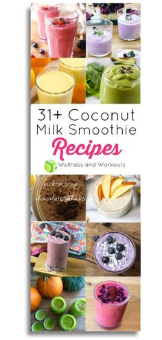 Coconut Milk Smoothies Round-Up for Health and Weight Loss Coconut Milk Smoothie, Milk Smoothies, Smoothies For Kids, Smoothie Diet, Healthy Smoothies, Healthy Drinks, Healthy Recipes For Weight Loss, Real Food Recipes, So Delicious Coconut Milk