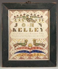 A rare Hampshire County, Virginia, fraktur record of the birth and death of infant John Kelley in 1847 sold for $32,200 last April at a Jeffrey S. Evans & Associates auction. This example and the similar following lot, which brought $23,000, were attributed to the anonymous 'Shenandoah Valley Illuminated Artist' of Winchester.