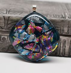 Square shaped dichroic fused glass pendant blues by zsjewelry, $12.50