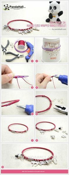 Easy Project on Making Floss Wrapped Bangle ... | Jewelry Making Tuto�� by wanting