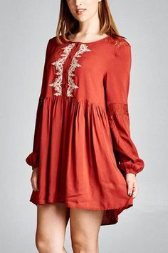 This fabulous tunic shirt/dress is the very color of fall.  Pair with some great leggings for a warm and cozy,  yet fashionable look all through the season!