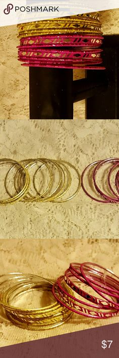 """16 pc bangle bracelets You are looking at 16 bangle bracelets in sparkly pink and gold tones, the opening is 3x3""""...will fit most wrists NWOT Jewelry Bracelets"""