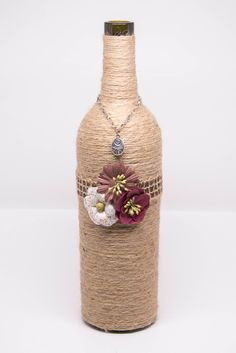 Wine Bottle Decor - Twine Wrapped Wine Bottle with Embellishments by BasBounty on Etsy