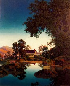 "Maxfield Parrish (American, 1870-1966). ""Peace of Evening/Evening Shadows"" 1950."