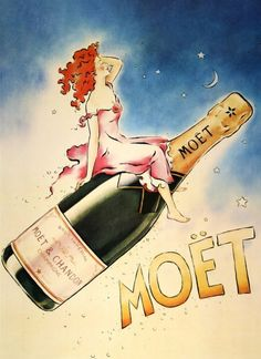 honey-rider:   noonesnemesis: Moët & Chandon artwork by Vince McIndoe 1979