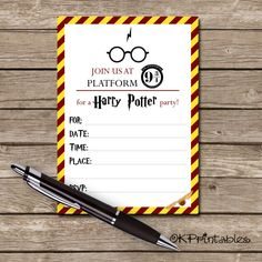 Printable harry potter invitation pdf art things pinterest harry potter invitation printable invite harry potter hp party invite instant download filmwisefo