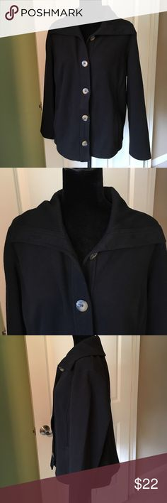 Karen Scott sport black button up sweater size L Karen Scott sport black button up sweater size Large. Good condition, has a large collar with brownish marble like buttons. Very cute Karen Scott Sweaters Cardigans