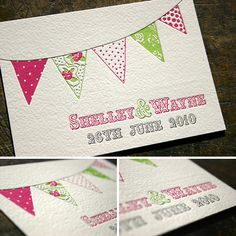 This beautiful letterpress design by Blush Publishing was designed by the bride herself. Shelley took inspiration from vintage pattern and summer themes.