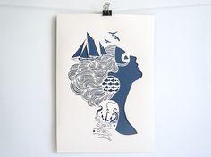 Sirene  handmade papercut poster  A4 by Papercutout on Etsy @lauren cesiro