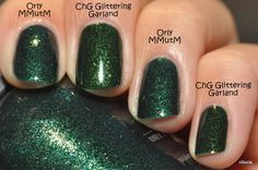 Comparison: China Glazze Glittering Garland and Orly Meet Me Under the Mistletoe http://cilucia.blogspot.com/2011/12/china-glaze-glittering-garland.html