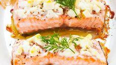 Fetajuustokuorrutettu uunilohi - Yhteishyvä Fodmap, Salmon Burgers, Food Inspiration, Camembert Cheese, Seafood, Sandwiches, Food And Drink, Yummy Food, Dinner